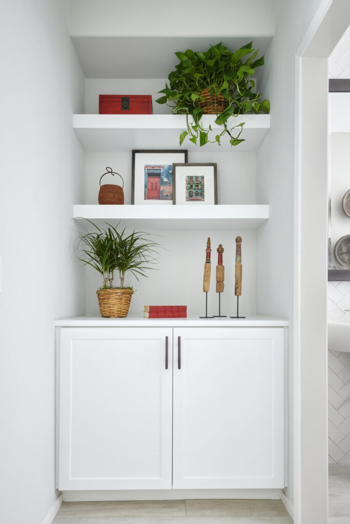 Energize your shelves with plants.