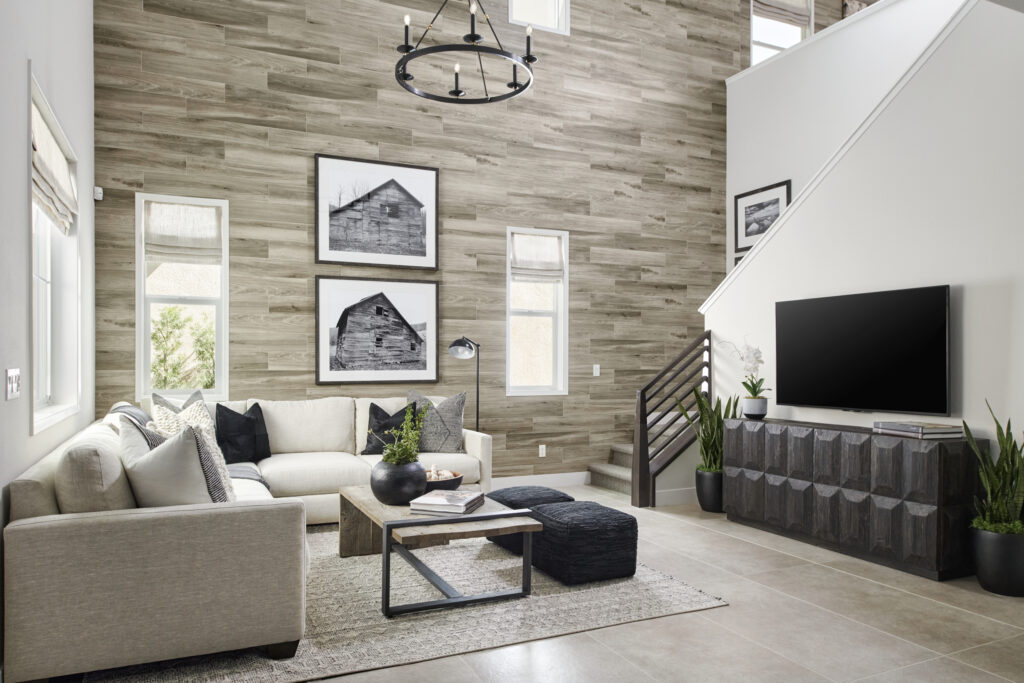 The two-story loft wall features a ceramic wood-look tile by Dal Tile.