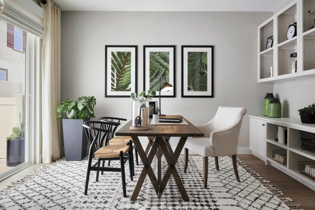 Bring in plants from outside to add energy to a home office.