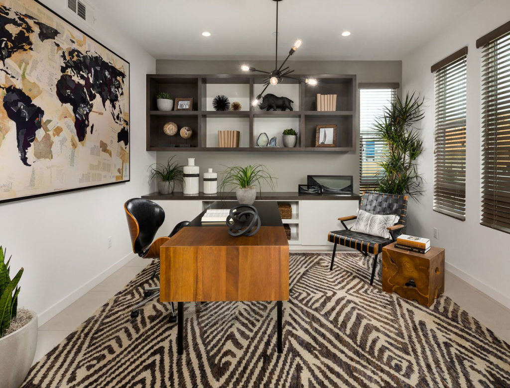 Home office with personality area rug